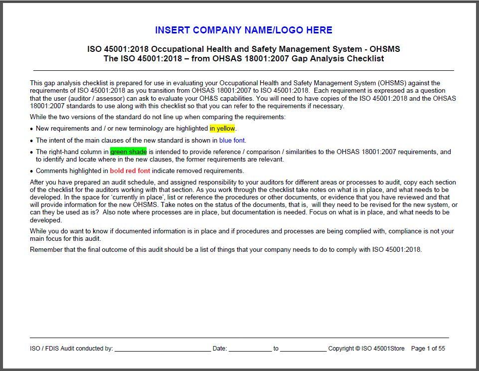 OHSA 18001:2007 Checklist | OSHA ISO 45001:2018 Checklist