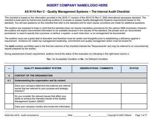 As9110 Rev C Internal Auditor Tools Checklist Procedure And Forms