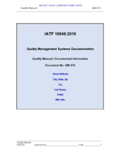 IATF 16949:2016 Quality Manual and Procedures Package